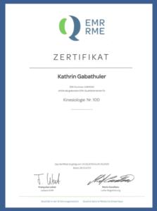 Kinesiologie Kathrin Gabathuler St.Gallen Zertifikat fuer die Anerkennung bei den meisten Krankenkassen fuer die Zusatzversicherung